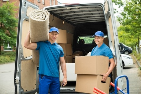 flat fee movers Sarasota men holding boxes